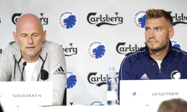 <strong>PRESSEKONFERANSE:</strong> Ståle Solbakken og F.C. København presenterte Nicklas Bendtner som ny spiller denne uka. Foto: Niels Christian Vilmann / NTB scanpix