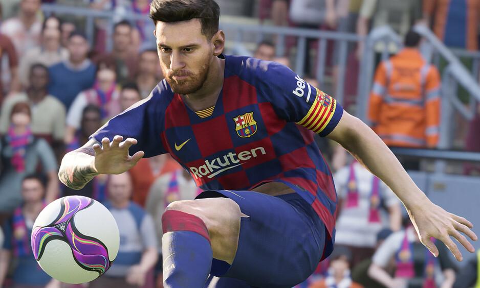 SUPERSTJERNE: Lionel Messi pryder coveret av det nye PES-spillet. Foto: Pro Evolution Soccer