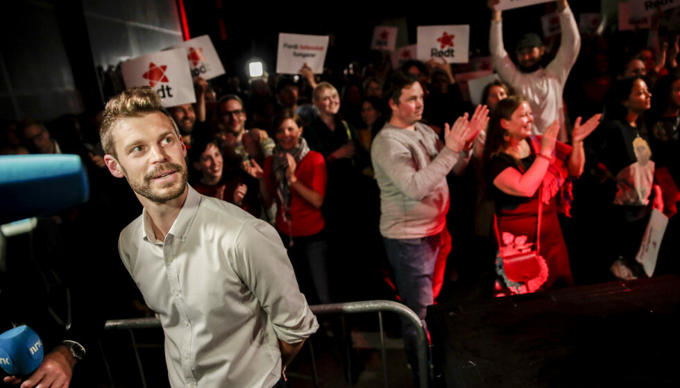 JUBEL: Rødt-leder Bjørnar Moxnes på Rødts valgvake på Vulkan i fjor. Foto: Vidar Ruud / NTB scanpix