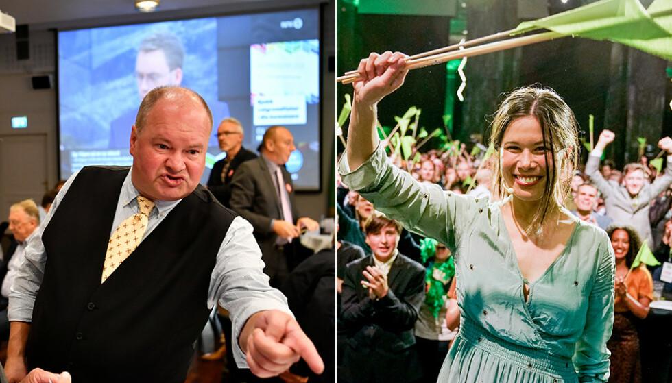 JUBEL: FNBs partileder Trym Helge Aafløy, og MDGs miljøbyråd i Oslo Lan Marie Berg, kan begge juble for brakvalg i store norske byer. Foto: Lars Eivind Bones / John T. Pedersen