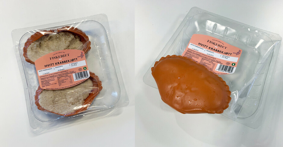 PLAST I PLAST: Klokjøttet fra Rema 1000 er pakket inn i et krabbeskall i plast, så i plastfolie, så i en plastboks. 70 gram plast for 150 gram krabbe. Foto: Elisabeth Dalseg