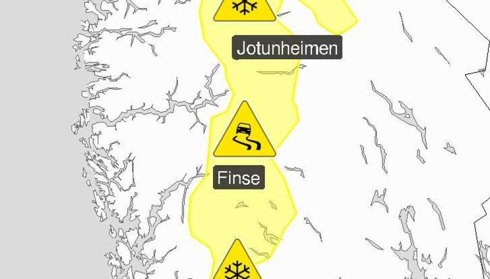 IKKE TIL Å MISFORSTÅ: Meteorologene forbereder bilfolket på at sommeren er slutt i fjellhøydene i Sør-Norge.
