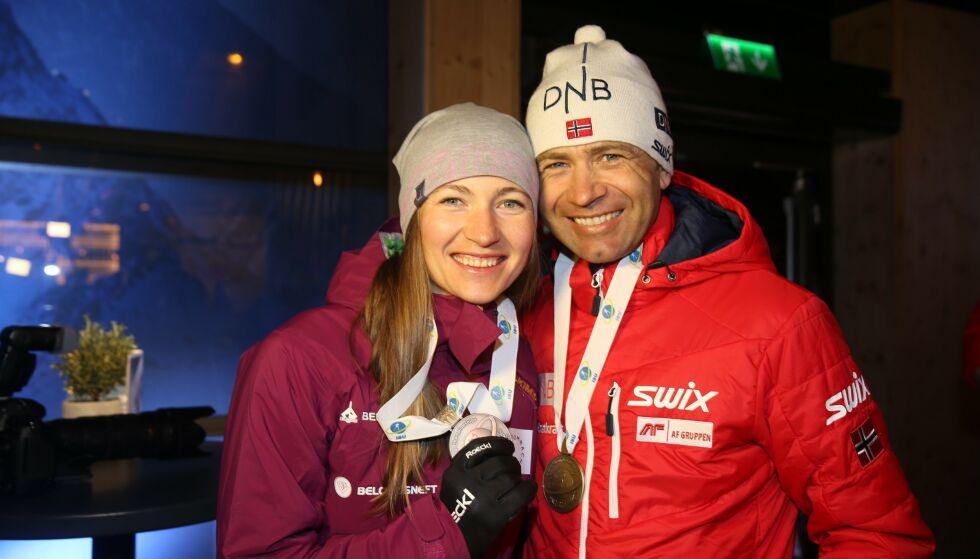 SKAL TRENE KINA: Darja Domratsjeva og Ole Einar Bjørndalen. Foto: Berit Roald / NTB scanpix