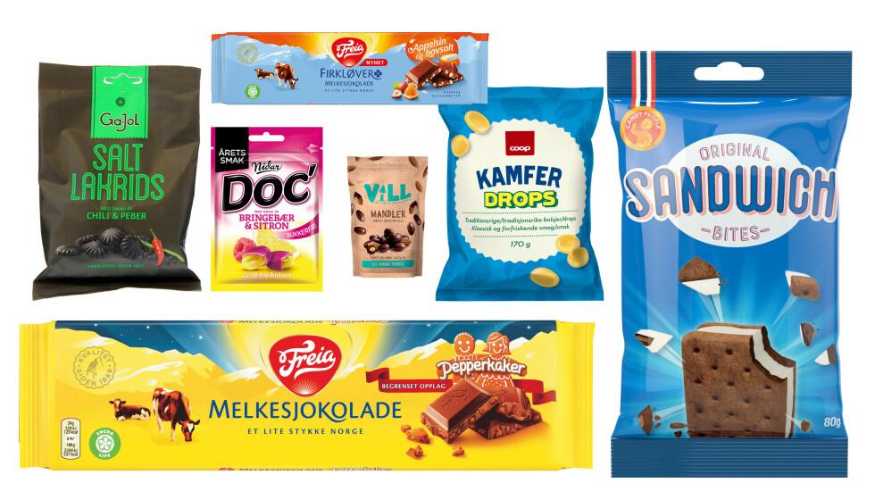 SØTT: Her er noen av høstens godterinyheter fra Freia, Nidar, Coop, Candy People og Haugen-gruppen. Foto: Produsentene. Montasje: Dagbladet