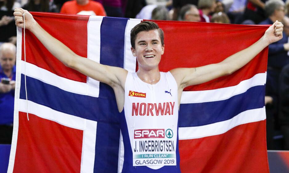 STJERNE: Jakob Ingebrigtsen (18) er blant Norges største medaljehåp under VM i friidrett i månedsskiftet september/oktober. Foto: NTB Scanpix