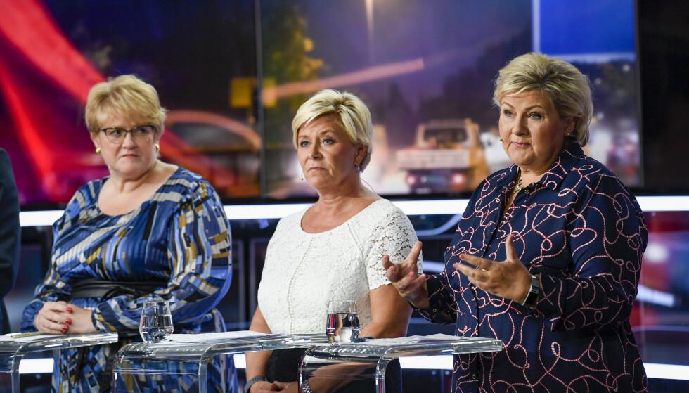 - ERNAS PROSJEKT: Trine Skei Grande (V), Siv Jensen (Frp) og Erna Solberg (H) har alle opplevd tilbakegang i høstens valg. Nå ropest det om oppvask i samtlige partier. Foto: Marit Hommedal / NTB scanpix