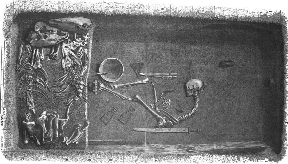 <strong>SLIK LÅ HUN:</strong> Dette er en illustrasjon basert på beskrivelsen av hvordan graven så ut da den ble åpnet. Illustrasjon: Evald Hansen