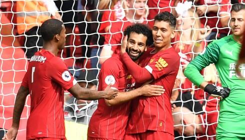 DRØMMEMÅL: Mohamed Salah og Roberto Firmino kombinerte inn et lekkert 3-1-mål. Foto: NTB Scanpix