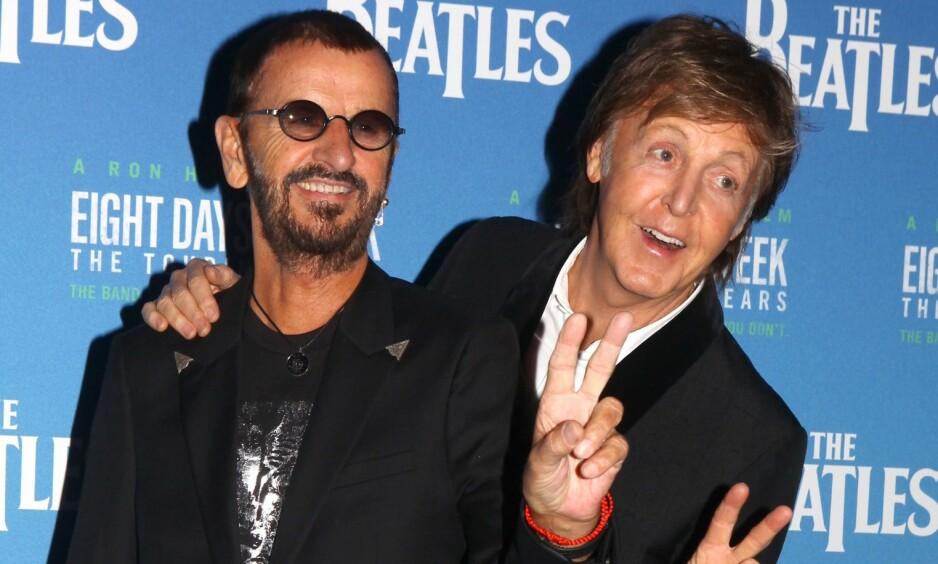 SAMMEN PÅ PLATE: Ringo Starr kommer med ny plate neste måned. Den inneholder en lite kjent John Lennon-låt, som Paul McCartney er med på. Foto: NTB Scanpix
