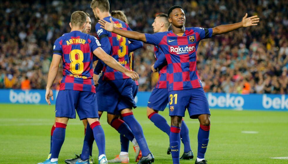 HERJET: Ansu Fati imponerte stort da han scoret og assisterte mot Valencia. Foto: PAU BARRENA / AFP / NTB Scanpix