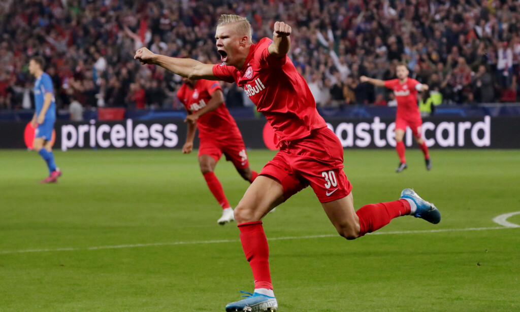 HERJET: Erling Braut Haaland herjet med Genk på tirsdag. Nå er han nominert til rundens spiller i Champions League. Foto: NTB Scanpix