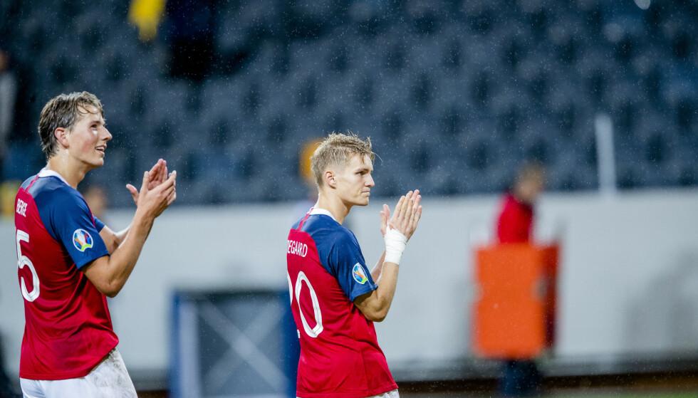 KLATRER: De norske fotballherrene klatrer på FIFA-rankingen etter godkjent innsats i EM-kvalifiseringen. Foto: Stian Lysberg Solum / NTB scanpix