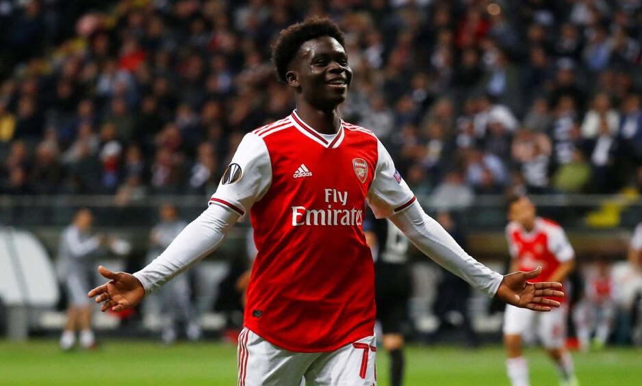 <strong>TALENT:</strong> 18 år gamle Bukayo Saka scoret sitt første Arsenal-mål i seieren over Eintracht Frankfurt. Foto: REUTERS/Kai Pfaffenbach/NTB Scanpix