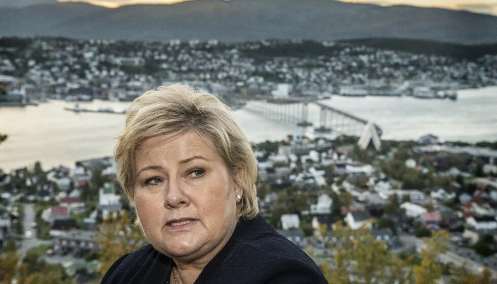 KRISETALL: Etter kommunevalget i 2011 satt Høyre igjen med 119 ordførere. I 2015-valget fikk Høyre 74. Nå kan antallet Høyre-ordførere bli halvert sammenliknet med sist valg. Her er Solberg i Tromsø. Foto: Hans Arne Vedlog/Dagbladet.