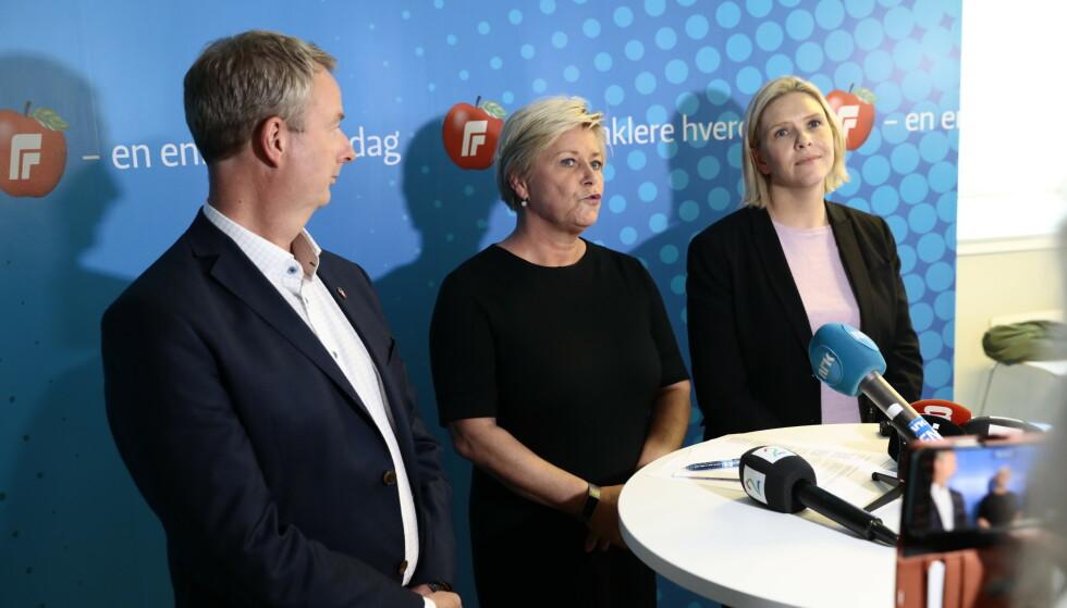 INGEN HAVARIKOMMISJON: - Frp har ikke havarert, sier Siv Jensen i dag. Carl I. Hagen får dermed ikke viljen sin. Foto: Nina Hansen / Dagbladet
