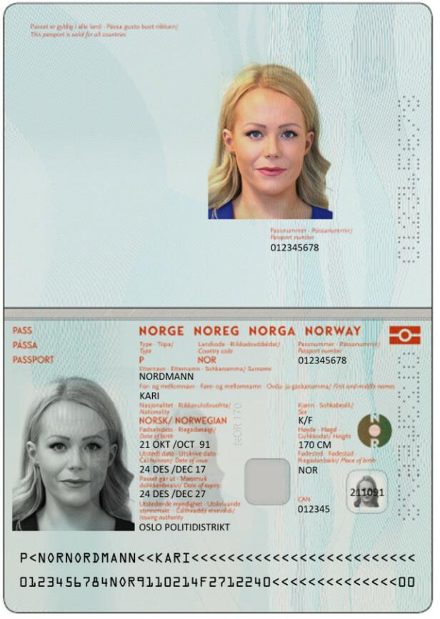 Nytt pass: Slik blir det nye passet ditt. Foto: Politidirektoratet