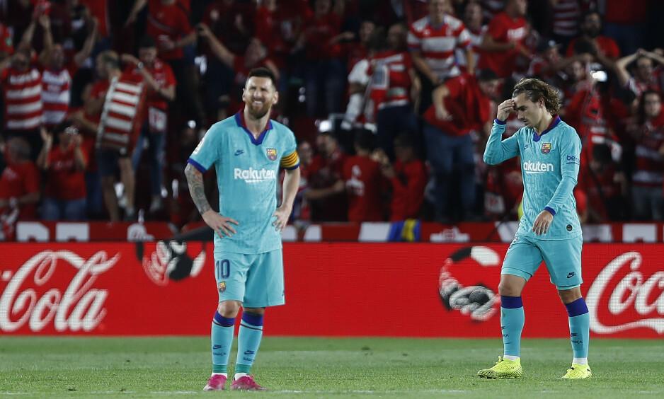 FORTVILER: Lionel Messi, Antoine Griezmann og resten av Barcelona har fått en marerittstart på sesongen. Foto: AP Photo / Miguel Morenatti / NTB Scanpix