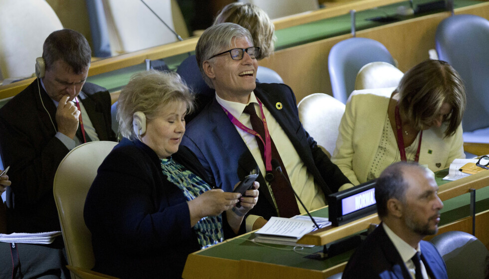 Ingenting å le av: Statsminister Erna Solberg og klimaminister Ola Elvestuen må møte klimakrisen med mer alvor enn de gjorde under ukas toppmøte i FN. Foto: Pontus Höök / NTB scanpix