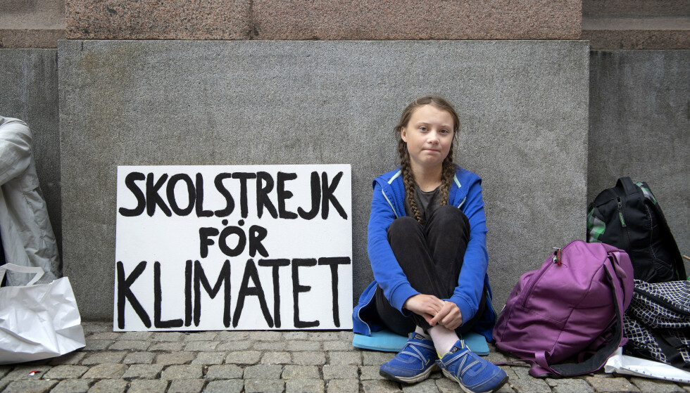 Streiker for klima: Greta Thunberg. Foto: Jessica Gow/TT NYHETSBYRÅN / NTB scanpix