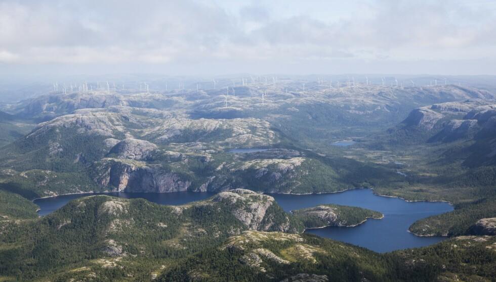 VINDPARK: 11. august ble de siste turbinene montert i fjellområdet Storheia i Åfjord kommune. Til sammen er det i 2019 reist 80 vindmøller i forbindelse med utbyggingen av de seks store vindparkene i Trøndelag. Foto: Dagfinn Graneng