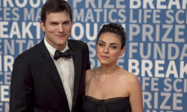 MANN OG KONE: Ashton Kutcher er i dag gift med Mila Kunis. Foto: NTB Scanpix