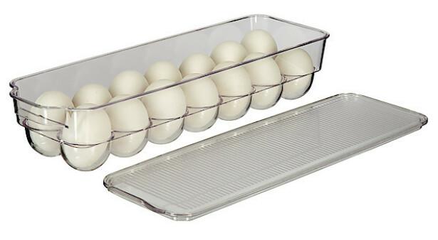 EGGBEHOLDER: Praktisk og oversiktlig oppbevaring av 14 egg i kjøleskap.