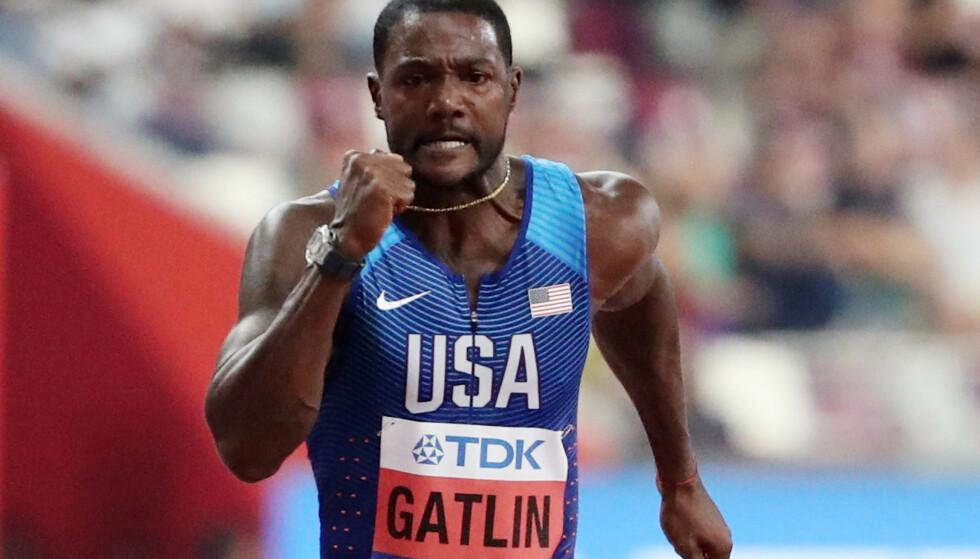 INNBITT: Justin Gatlin er regjerende verdensmester på hundremeteren og kan utlikne Usain Bolts tre VM-gull på distansen i kveld. I så fall vil det være fjorten år mellom hans første og tredje gull. Foto: REUTERS/Lucy Nicholson/NTB Scanpix