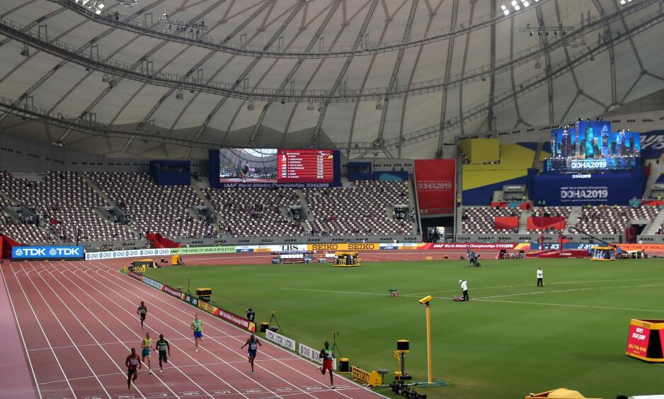 HELT TOMT: Friidretts-VM i Qatar, og nesten ingen bryr seg i arrangør-landet. Det er en skandale for en sport som ønsker global oppmerksomhet. FOTO:NTB/Scanpix