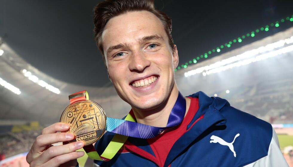GULLGUTT: Karsten Warholm er verdensmester på 400 meter hekk. Foto: Lise Åserud / NTB scanpix