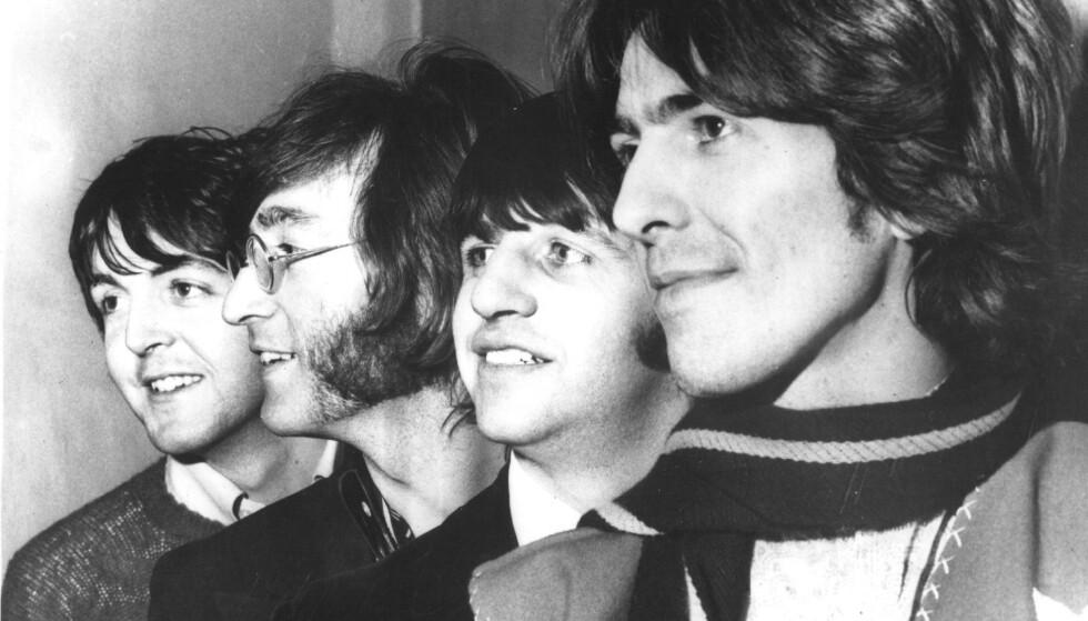 """1968: Slik poserte musikk-ikonene i The Betales året før rekordalbumet """"Abbey Road"""" kom ut. Fra venstre Paul McCartney, John Lennon, Ringo Starr, George Harrison. Arkivfoto: NTB Scanpix."""