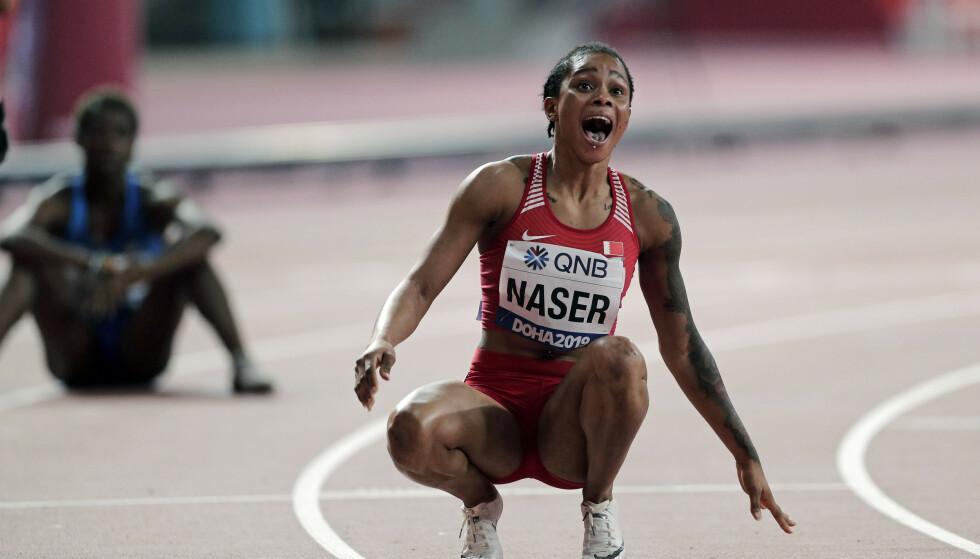 SKJOKKLØPET: Salwa Eid Naser vant 400 meter i finalen med historiens tredje beste tid. Det er dessverre ikke til å tro. For Salwas hjemland Bahrain har ifølge WADA ikke tatt en eneste dopingprøve i siste kontrollerte sesong. FOTO:AP/Nariman El-Mofty