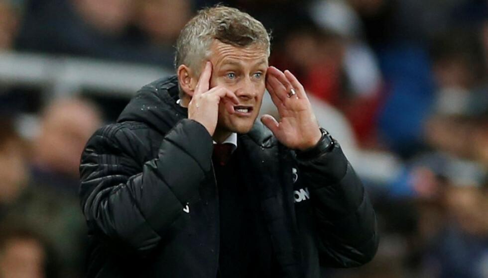 DET VIRKER IKKE: Ole Gunnar Solskjær får det ikke til. Manchester United blir stadig dårligere. Og mens mange skader er en forklaring på elendigheten, er det ikke hele forklaringen på det som skjer på Old Trafford. Det betyr at nordmannen i Manchester United er i alvorlig trøbbel. Foto: Lee Smith/ Action Images/Reuters