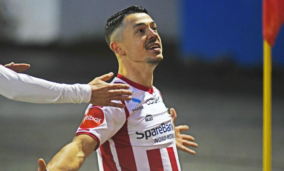 HELT: Tromsøs Fitim Azemi scorer i kampen mellom Tromsø og Kristiansund på Alfheim Stadion. Foto: Rune Stoltz Bertinussen / NTB scanpix
