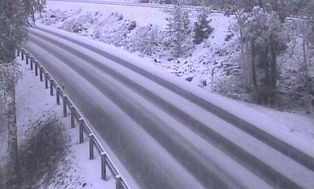 NOTODDEN: Like øst for Notodden ser det slik ut tirsdag morgen. Foto: Statens vegvesen