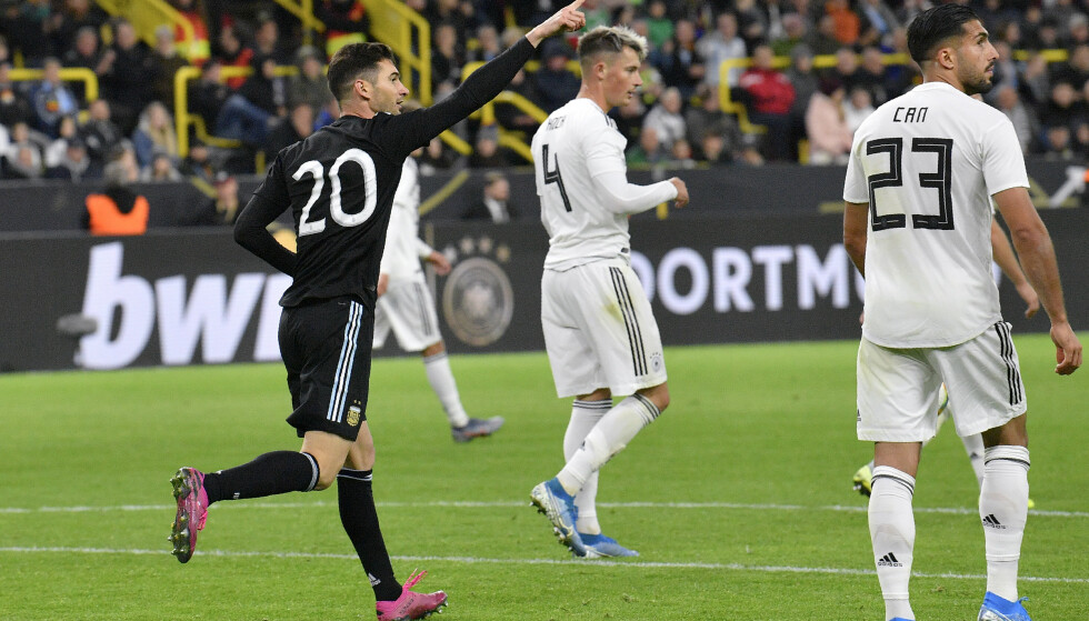HENTET OPP TOMÅLSLEDELSEN: Lucas Alario og et B-preget Argentina-lag svarte tyskerne etter pause. Foto: NTB/Scanpix