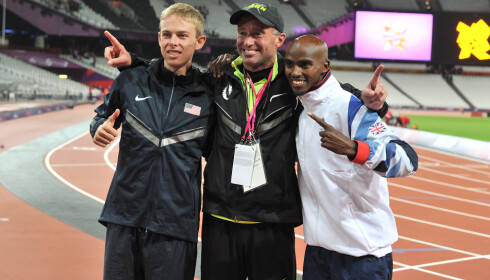 File photo dated 04-08-2012 of Great Britain's Mo Farah (right) celebrates winning the Men's 10,000m final with Silver Medalist USA's Galen Rupp (left) and coach Alberto Salazar.