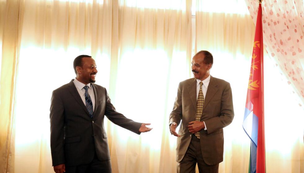FREDSARBEID: Eritreas president Isaias Afwerki og Etiopias statsminister Abiy Ahmed. Foto: REUTERS/Tiksa Negeri