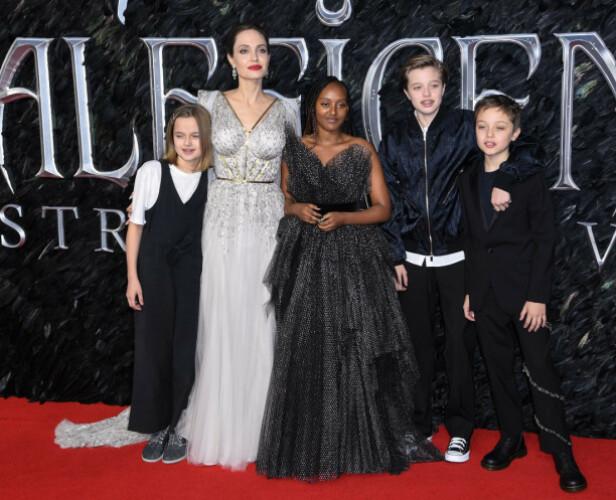 <strong>MED BARNA:</strong> Angelina Jolie hadde med seg barna Vivienne Marcheline, Zahara Marley, Shiloh Nouvel og Knox Jolie-Pitt på «Maleficent: Mistress of Evil»-premieren i London. Foto: NTB scanpix