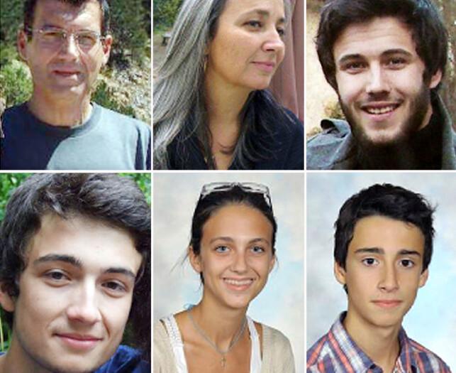 MISTENKT OG DREPT: Familien Dupont de Ligonnès (oppe fra venstre): Xavier, Agnes, Arthur, Thomas, Anne og Benoit. Foto: AFP / Politiet