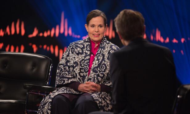 TALKSHOW: Sara Danius fortalte til Fredrik Skavlan i mars at hun hadde fått tilbakefall. Foto: NTB Scanpix