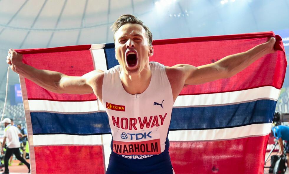 NOMINERT: Karsten Warhom kan bli den første nordmannen som kan smykke seg med tittelen årets friidrettsutøver. Foto: Lise Åserud / NTB Scanpix