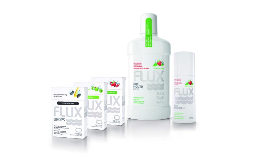 FLUX TØRR MUNN: Flux har en serie produkter som lindrer når du føler deg tørr i munnen. Serien inneholder skyll, en gel, samt harde sugetabletter. Produktene kan etter behov kombineres døgnet rundt.