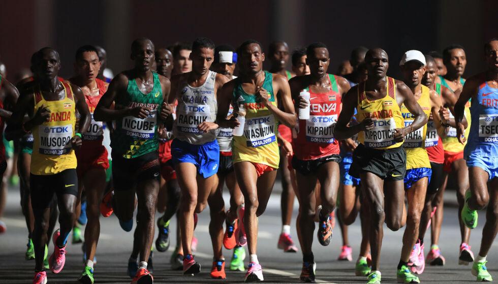 KRAFTANSTRENGELSE: Maratonøvelsene skal etter planen starte kl. 06.00 på morgenen lokal tid. Under VM i Doha ble disse øvelsene arrangert fra midnatt, men likevel var det i 38 graders varme. Foto: NTB Scanpix