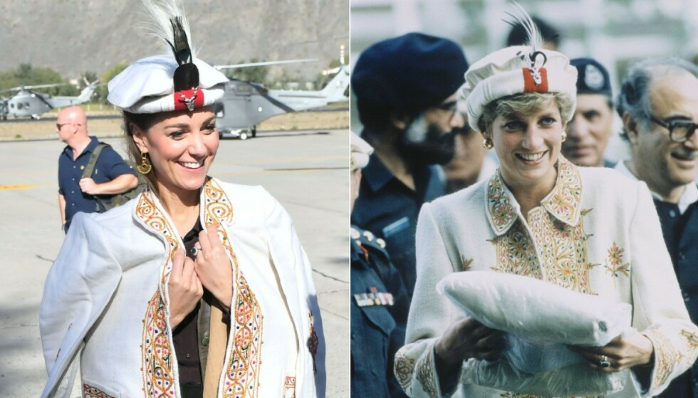 LOKALE TRADISJONER: Både Kate og Diana fikk tildelt lokale antrekk i Pakistan. Hertuginnen har flere ganger i løpet av turen kledd seg i liknende antrekk som sin avdøde svigermor gikk kledd i da hun besøkte landet i 1996. Foto: NTB Scanpix