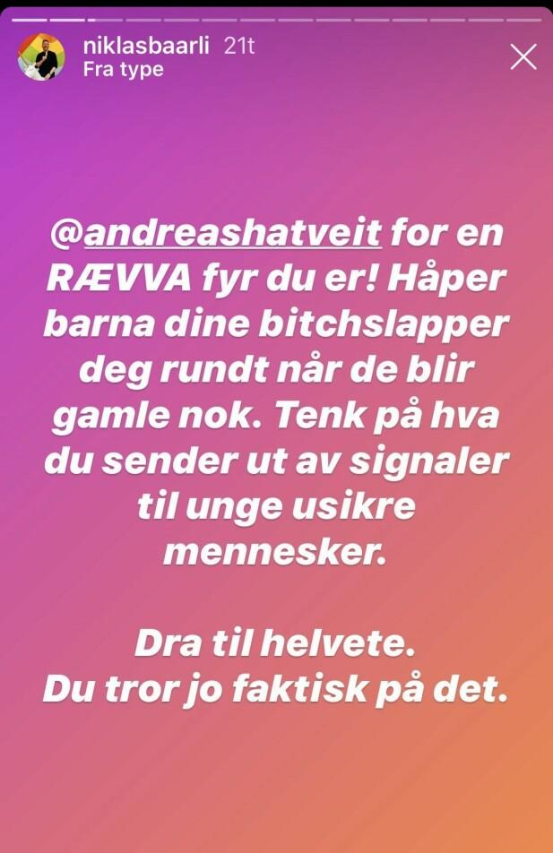 REAGERER: Niklas Baarli er blant dem som reagerer sterkt på Andreas Håtveits uttalelser. Skjermdump: Instagram