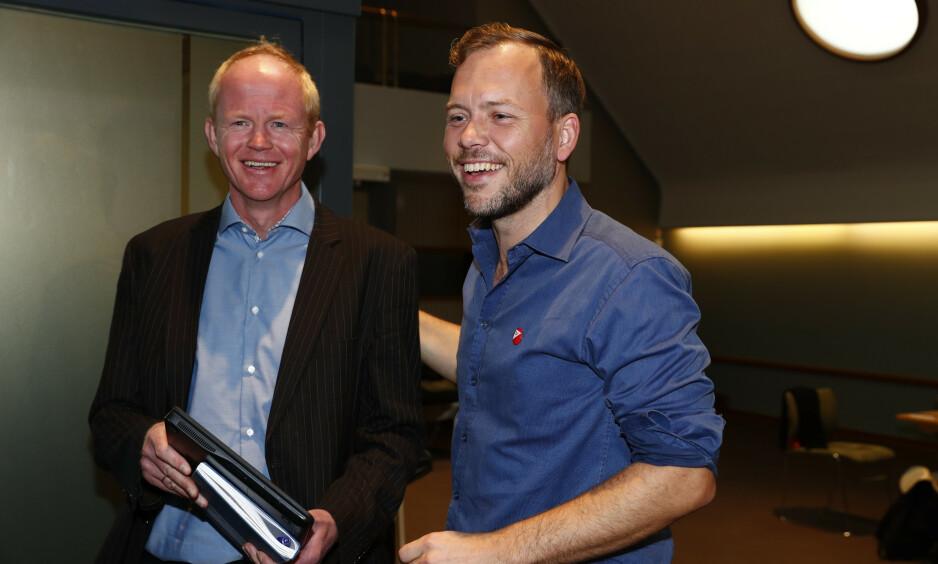 GJØR OPP STATUS - FOR REGJERINGEN: SVs Lars Haltbrekken (t.v.) og Audun Lysbakken er ikke imponert over klimapolitikken til regjeringen. Foto: Terje Pedersen / NTB Scanpix