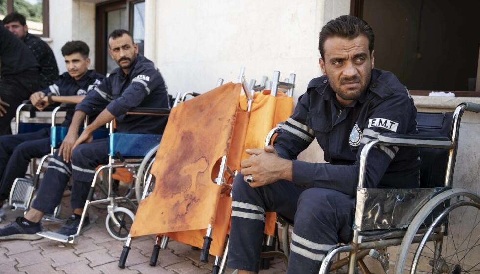 UTSLITT: Ambulansearbeiderne ved sykehuset i Tall Tamr har lange og harde arbeidsdager. Foto: Niclas Hammarström / Expressen