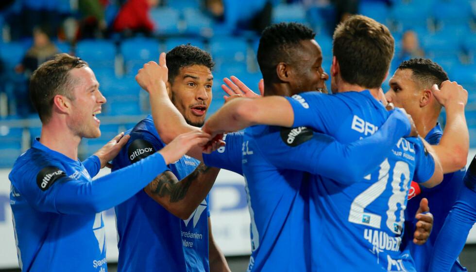 JUBEL: Molde fortsetter å vinne. Søndag slo de Haugesund 3-1. Foto: Svein Ove Ekornesvåg / NTB scanpix