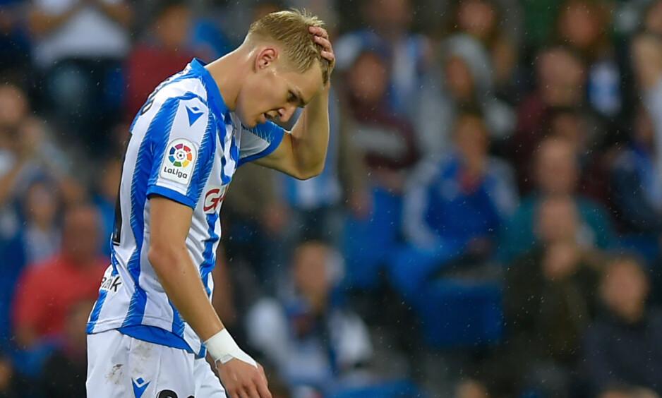 TAPTE: Martin Ødegaard klarte ikke å gjøre noe med Levante i kveld. Foto: ANDER GILLENEA / AFP / NTB Scanpix