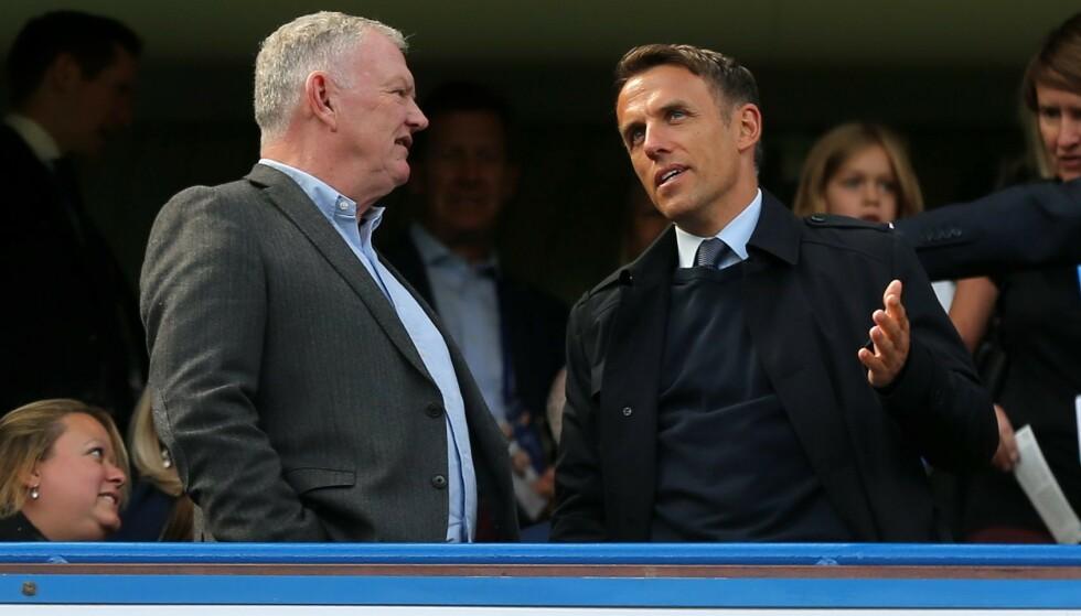 SJEF: Fotballpresident Greg Clarke (til venstre) her sammen med Gareth Southgate. Foto: NTB Scanpix